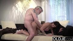 Naughty Grandpa sucks young girls tits then gets a blowjob Thumb