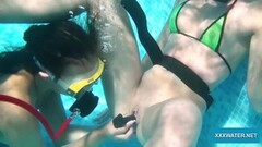 Kinky lesbians playing with dildos in the pool Thumb