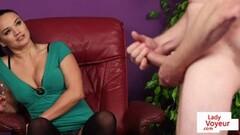 CFNM British Brunette instructs sub guy to jerk Thumb