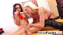 Sexy blonde Nikita's lesbian office fuck Thumb