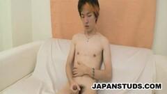 Tsubasa Miyashita - Japan Boy Wanking His Hairy Cock Thumb