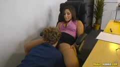 Cock slurping horny Abella Danger guzzles on cum at work Thumb