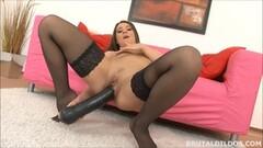 stocking clad brunette masturbating Thumb