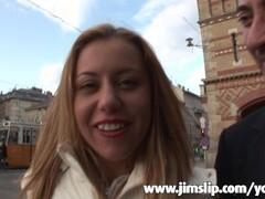 Big-tit blonde pornstar has an anal DP threesome in a porn cinema Thumb