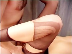 Secretary office sex in sheer crotchless hosiery Thumb