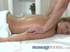 Massage Rooms Hot MILF enjoys big oily fingers deep in her juicy wet pussy Thumb