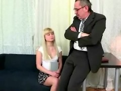 Horny old teached fucks his young blonde student in his office instead of additional classes Thumb