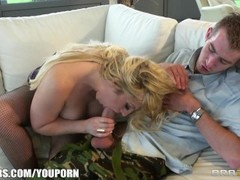 BUSTY blonde MILF is caught and fucked in her natural habitat Thumb