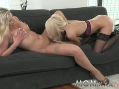 MOM Lesbian MILFs Kissing and Eating Pussy Thumb