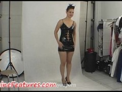 Sexy chick in latex dress in backstage clip Thumb