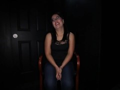Gloryhole Secrets Mia giving blowjobs to complete strangers and swallowing Thumb