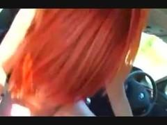 Redhead dogging in car Thumb