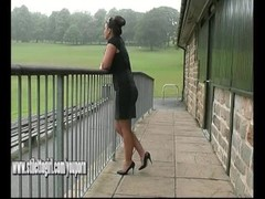 Stiletto babe Karen with shoe fetish teasing in pointed black high heels Thumb
