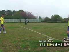 Subtitled ENF CMNF Japanese nudist soccer penalty game HD Thumb