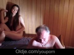 Amazing Beautiful Teen is Fucking an Old Man in The Sauna Thumb