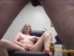 Dirty talking blonde mistress pegs her obedient slave with a strap-on Thumb