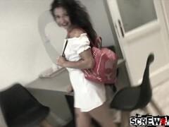 Mature woman flashing in hotel window Thumb