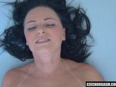 Beautiful Brunette Fingers Her Tight Pussy Thumb