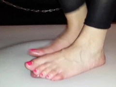 Cruel barefoot cockcrush dance with cumshot Thumb