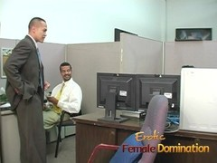 Bossy blonde office bitch dominates and humiliates workers at work Thumb