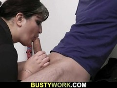 Busty lady in pantyhose rides at work Thumb