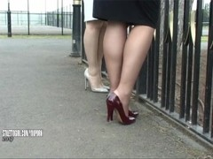 Gorgeous erotic high heel ladies tease feet legs fetish in nylons and stiletto shoes Thumb