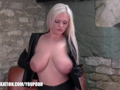 Kinky babes tease and explore the feeling of leather on their gorgeous natural boobs and bodies Thumb
