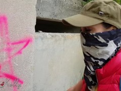 Graffiti girl caught and fucked by owner receive a cum in mouth Thumb