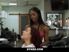 Dyked - Straight Teen Girl Seduces By Hot Ebony Stylist Thumb