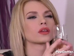 Peeonher - Piss inside ass play for naughty blonde Karina Grand Thumb