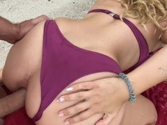 Exploding Massive ANAL CREAMPIE for Young Blonde on Public Beach Thumb
