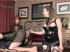 Mistress T prostate massage, pegging and ass fucking with strap-on slave Thumb