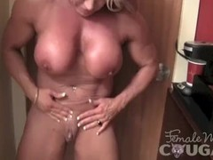 Mature Female Bodybuilder Poses and Masturbates Thumb