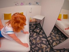 Redhead Stewardess Hairy Pussy Doggystyle Creampie between Flights at Hotel Thumb