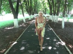 Sexy blonde flashing and hot masturbating in a public park. Thumb