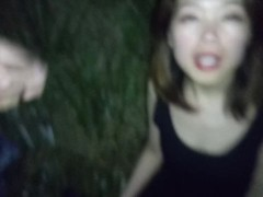 Beautiful asian wife sucks two big cocks outdoors Thumb