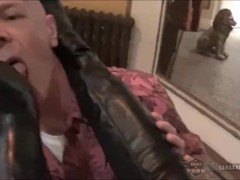 Mistress Sahara Knite makes her sub lick her boots clean Thumb