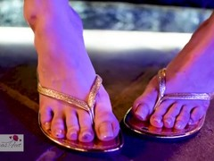 Japanese Girl Shows Off Sexy Gold FlipFlops & Feet In Public. Long Nails. Thumb