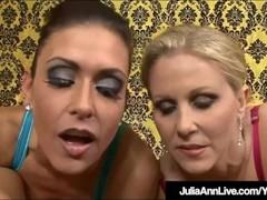 Cum Swapping Milfs Julia Ann & Jessica James Sucks A Cock! Thumb
