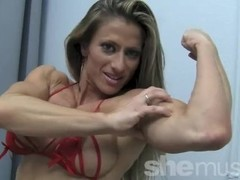 Sexy Pro Female Bodybuilder Maria G Performs a Peek-a-Boo Strip Thumb