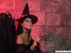 Stacey Saran foursome sex with Jasmine Black in a dungeon Thumb