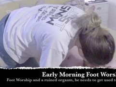 Foot worship & Ruined orgasm for my sub in training :) Thumb