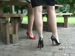 Stiletto Girl babes Jenna and Iona tease and stimulate your leggy high heel fetish Thumb