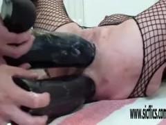 XXL Double dildo fucking both her holes Thumb