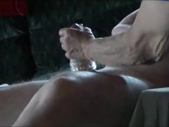 Handjob with cumshot - Jerking him off with a sex toy Thumb