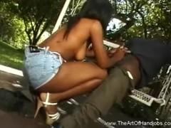 Ebony Teen Strokes White Dick Thumb