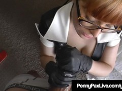 Latex Nurse Penny Pax Blows Her Fat Dick Patient! Thumb