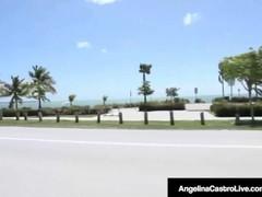 BBW Angelina Castro & Sexy GF Bedelli Masturbate At Beach! Thumb
