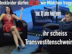 Die Latex Maid Luder - Ich trage kniehohe schwarze Stiefel und ein Latex Minikleid ihr scheiss Trans Thumb