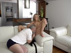 OLD4K. Sensual sex is how old husband and young wife begin new day Thumb
